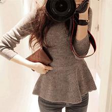 Nice New Fashion Women Sweater O-Neck Slim & Flouncing Butterfly Hem Skirt Casual Women Clothing dress Sweater Skirt A255