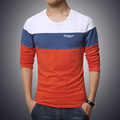 2016 NEW fashion brand casual fitness T shirt striped patchwork Long Sleeve t shirt men Slim