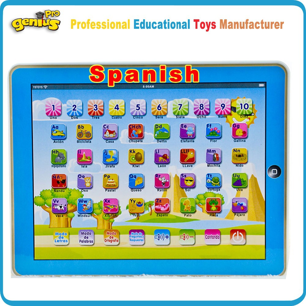 Spanish Language Toys Enducation Learning Machine Y Pad Pink&Blue Baby Toy Tablet Children Computer 27 Spanish Letters YS2911N(China (Mainland))