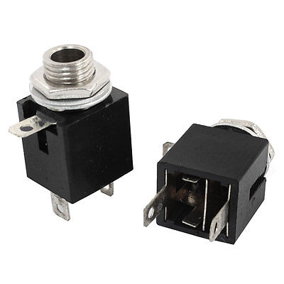 2pcs 6.35mm Stereo Female Jack Socket PCB Mount Connector Adapter