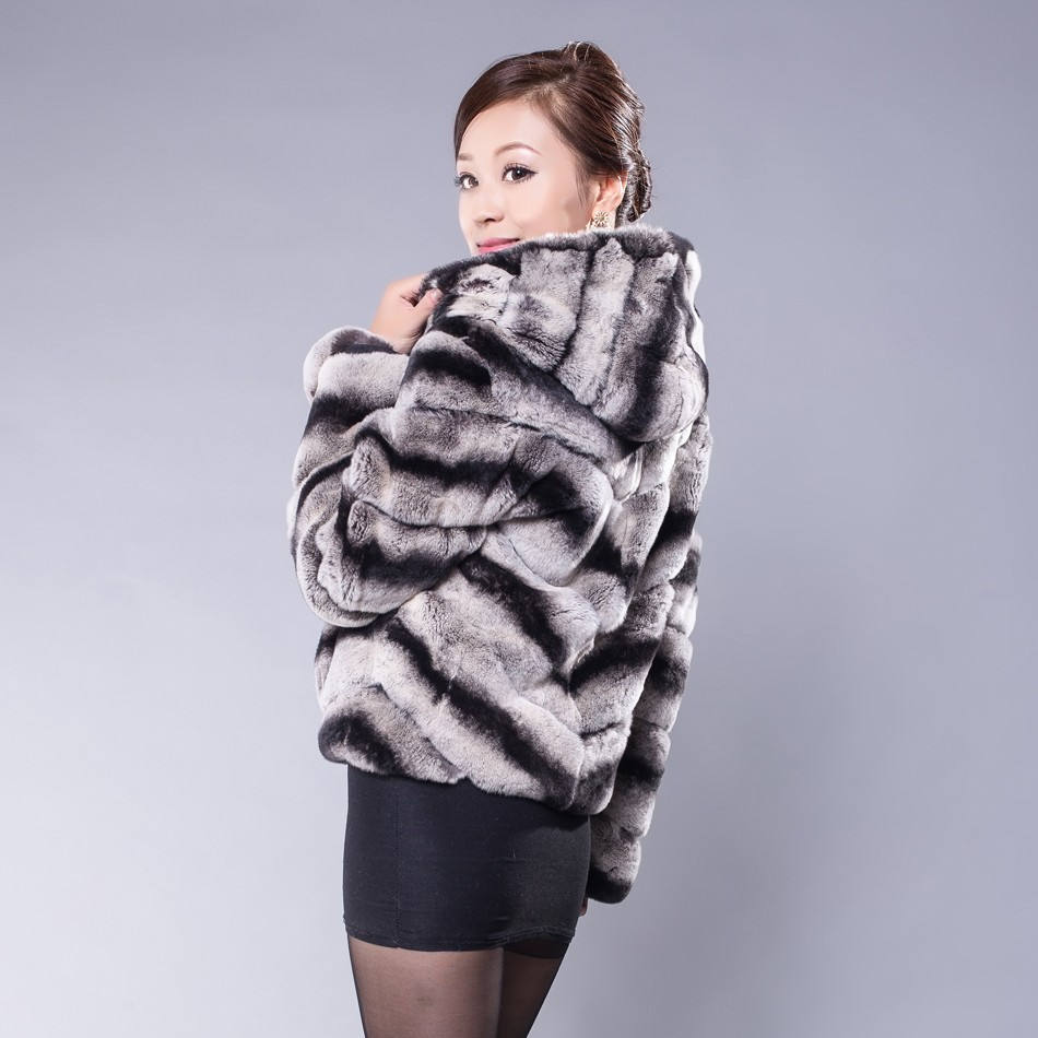 New Winter Real Rex Rabbit Fur Coats For Women Female Plus Size Hooded Natural Fur Jacket Chinchilla Fur Coat Whole Genuine Fur(China (Mainland))