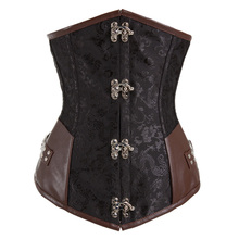 Black Jacquard and Leather Steel Boned Underbust Corset Steampunk Clothing Waist Training Corsets Gothic Sexy Korsett For Women