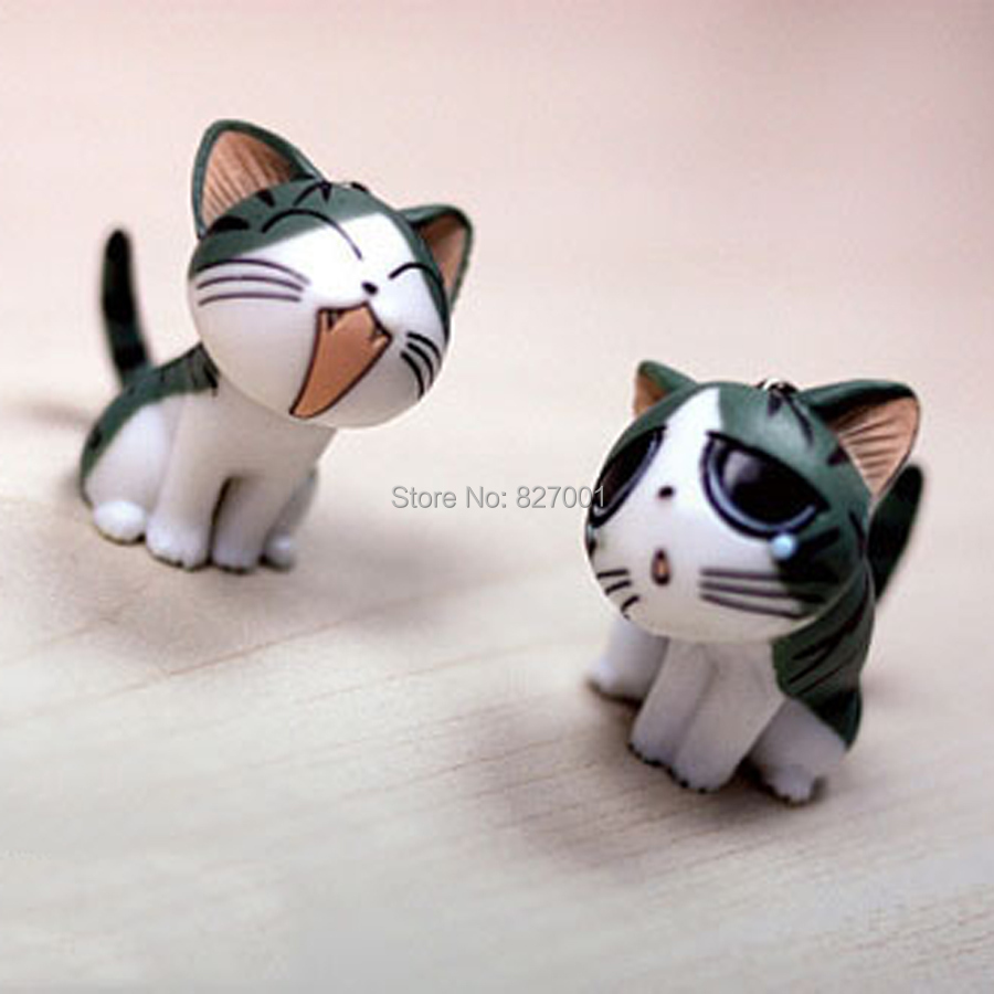 Hot Sale!Cute Small Cheese Cat Ornaments 9 Pcs/Set Different Expressions Carrtoon Sweet Little Odd Cat Creative Phone Pendant(China (Mainland))