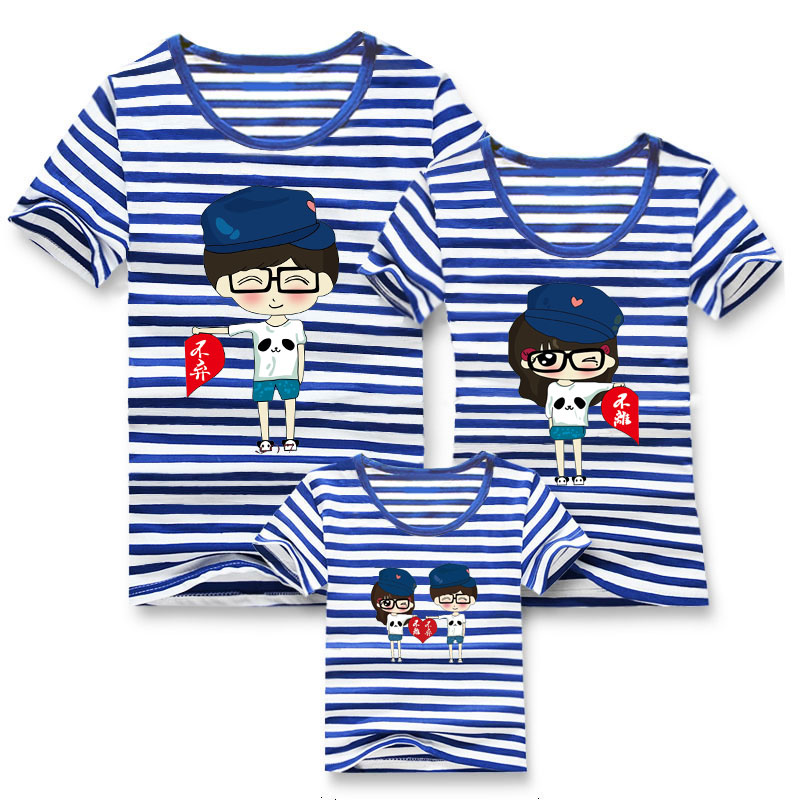 Family fashion summer tops 2015 clothers short/sleeve t/shirt stripe navy style shirt clothes for mother dad and children summer kids banana leaves plus size children family look clothes mother baby girl beach dress mommy and daughter fashion dresses