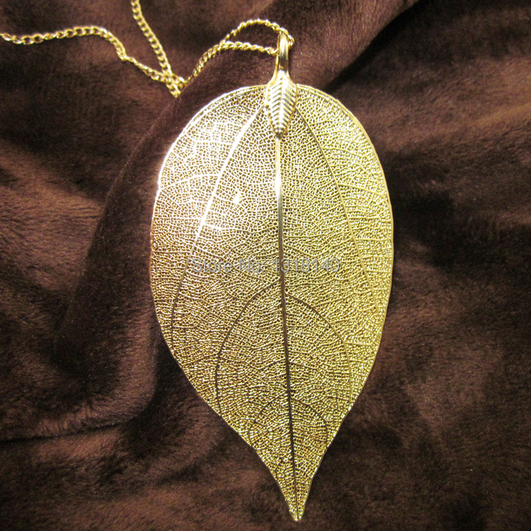 2015 Hot Sale18K Gold and Silver Plated Maxi Colar Natural Real Leaf Dipped Long Leaf Necklaces & Pendants (Sending Gift Box)(China (Mainland))