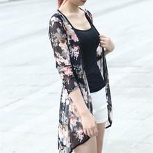 Selljimshop Spring Summer Fashion Women  Stripe Printed Gauze Blouses Kimono Cardigan Coat Jacket Brand Designer Vestideo(China (Mainland))