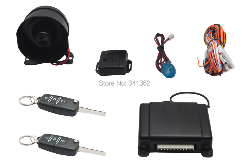Hot 2015 One Way Car Alarm With Flip Key Blade Remote Control For Lada VW Mercedes Toyota Renault Peugeot 406()