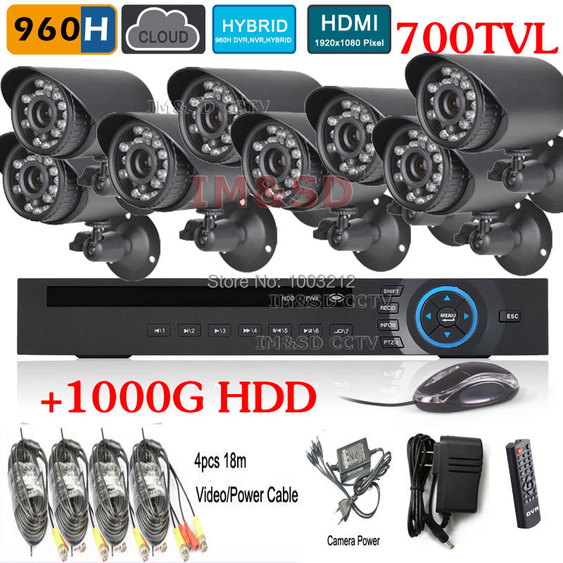 8CH 700TVL IR Outdoor Weatherproof Surveillance CCTV Camera Kits Security 8ch 960H HVR NVR HDMI 1TB HDD DVR Recorder Systems<br><br>Aliexpress