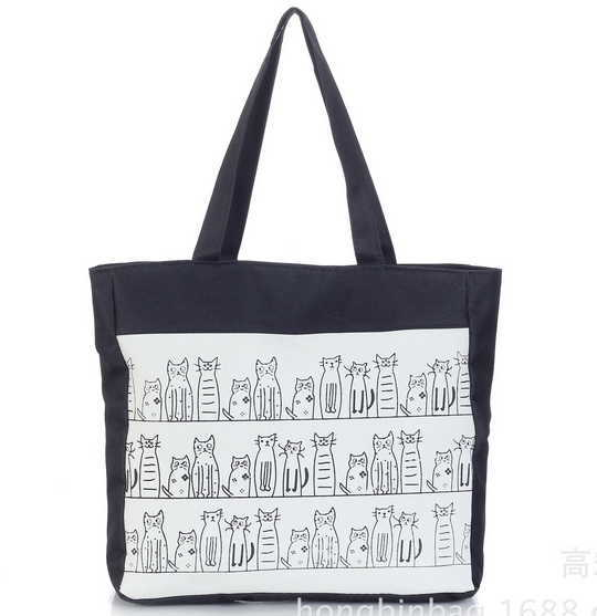 New Hot Brand Bags For Women Large Capacity Casual Tote Cute Cat Printing Canvas Beach Shoulder Bag Female(China (Mainland))