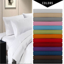 Deep Pocket 4 Piece Bed Sheet Set,solid bedding set,Include Flat sheet,fitted sheet,pillowcase.super king/queen/twin/full size(China (Mainland))