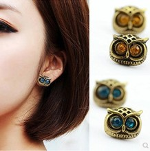 ea230 Fashion Hot Selling 2015 New Style Earring Jewelry Retro Silver Cute Lovely Big Eye Owl Earrings Blue Brown Free Shipping