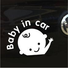 "Lovely New ""Baby In Car""Cartoon Car Stickers Waving Baby on Board Safety Sign Car Decal Reflective Vinyl(China (Mainland))"