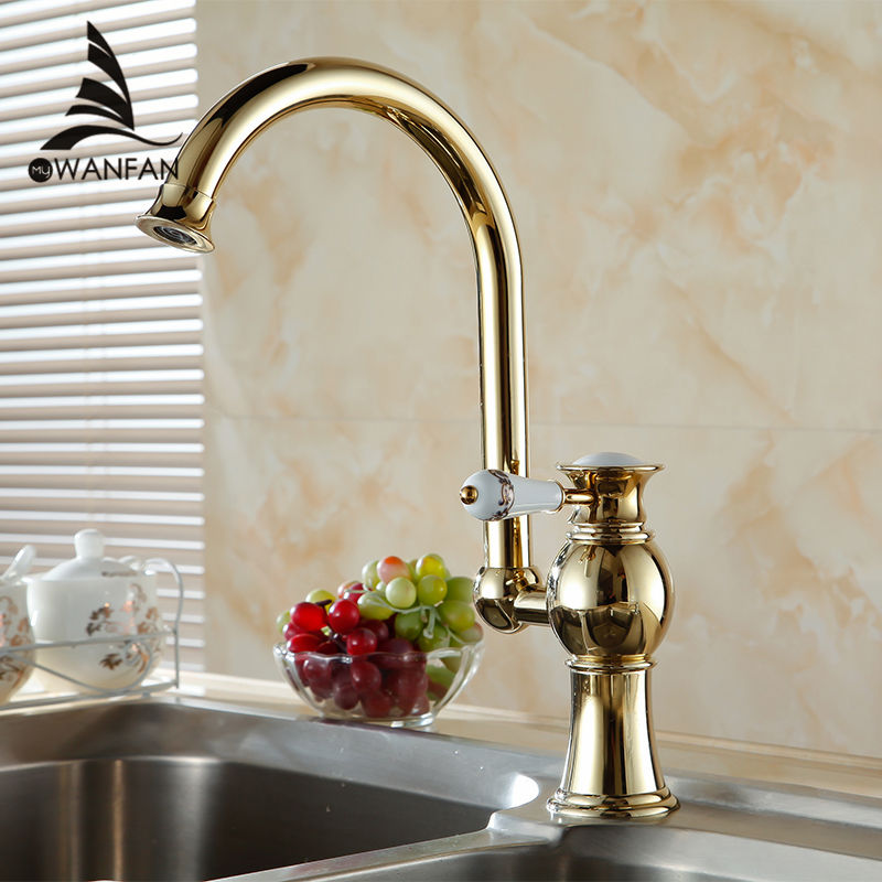 Free shipping Contemporary Concise Bathroom Faucet Golden Polished Brass Basin Sink Faucet Single Handle water taps AL-7511K(China (Mainland))
