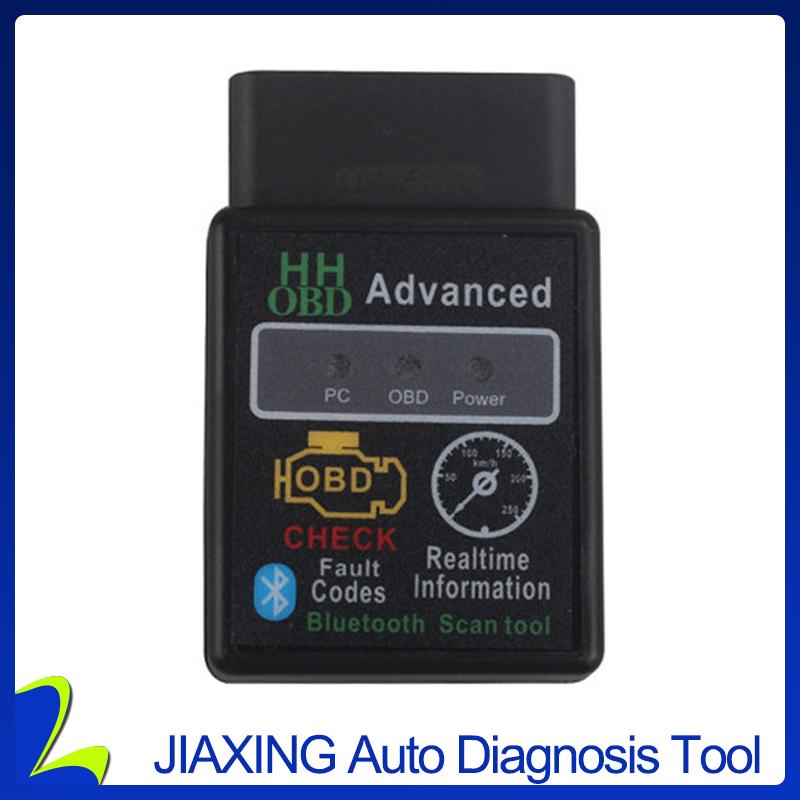 New Design HH OBD Advanced MINI ELM327 v2.1 Black Bluetooth OBD2 Car CAN Wireless Adapter Scanner Tool(China (Mainland))
