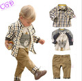 Retail 2016 New Boys Clothing 3pcs Sets Baby Kids Clothes Children Plaid Character Suits T Shirt