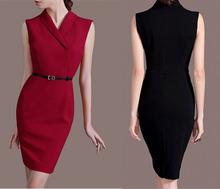 Buy Elegant slim sheath bodycon dress black/ red OL dress vestidos business wear work career apparel for $50.39 in AliExpress store