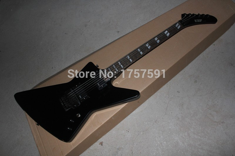 Free shipping ESP Explore signature series SNAKEBYTE James Hetfield black Electric Guitar with Active Pickup 9V Battery(China (Mainland))