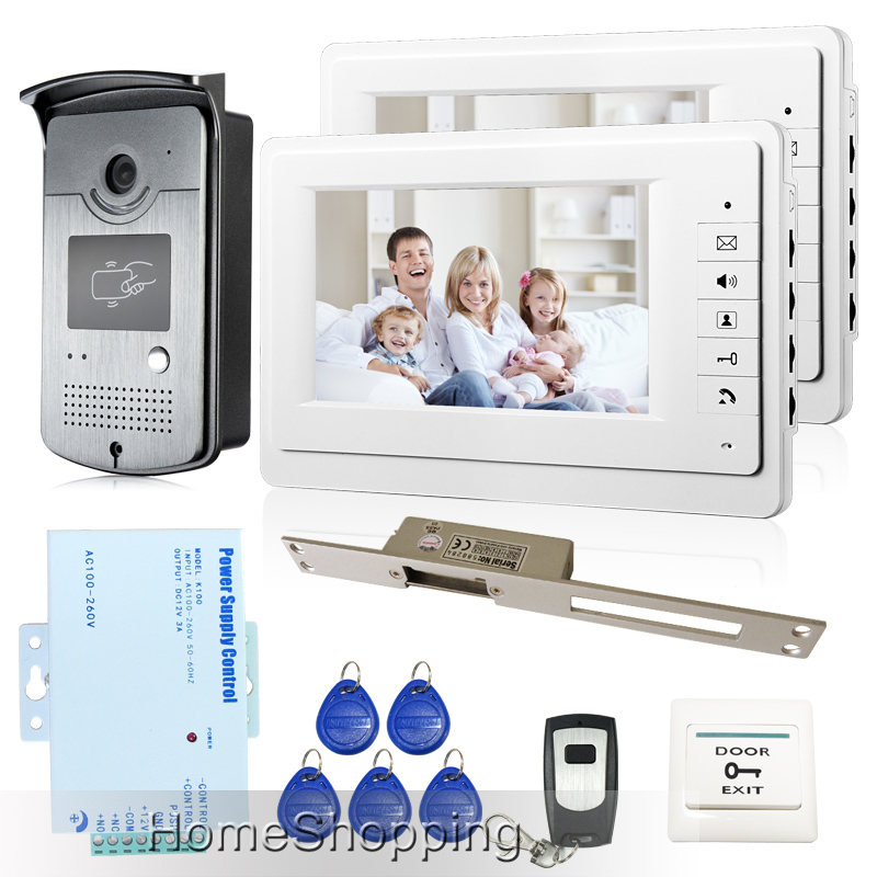 Free Shipping Brand New Home 7 inch Video Intercom Door Phone System 2 Monitors + RFID Camera + Long 250mm Strike Lock In Stock(China (Mainland))