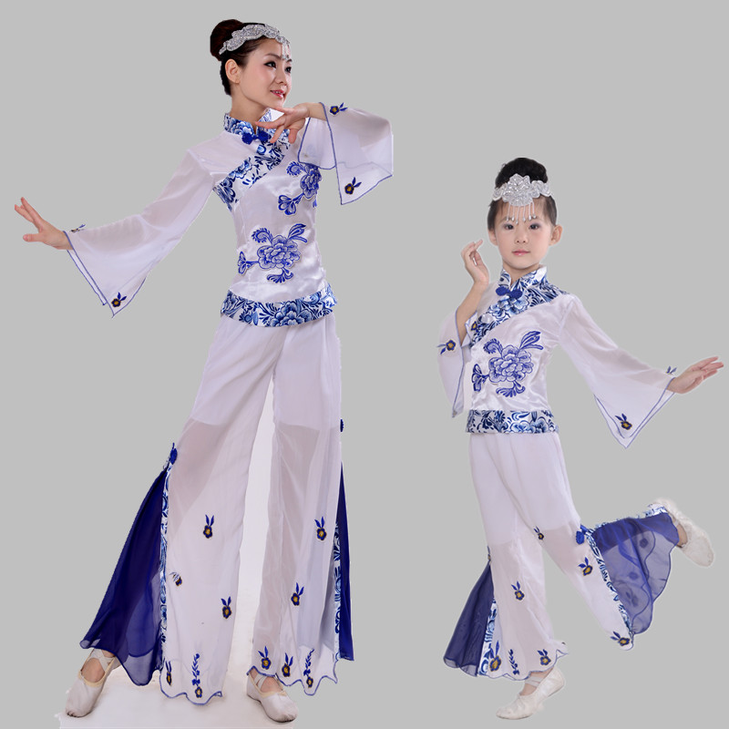 woman Chinese Blue and white porcelain Classical dance costume children national dance performance clothing girls yangko dance(China (Mainland))