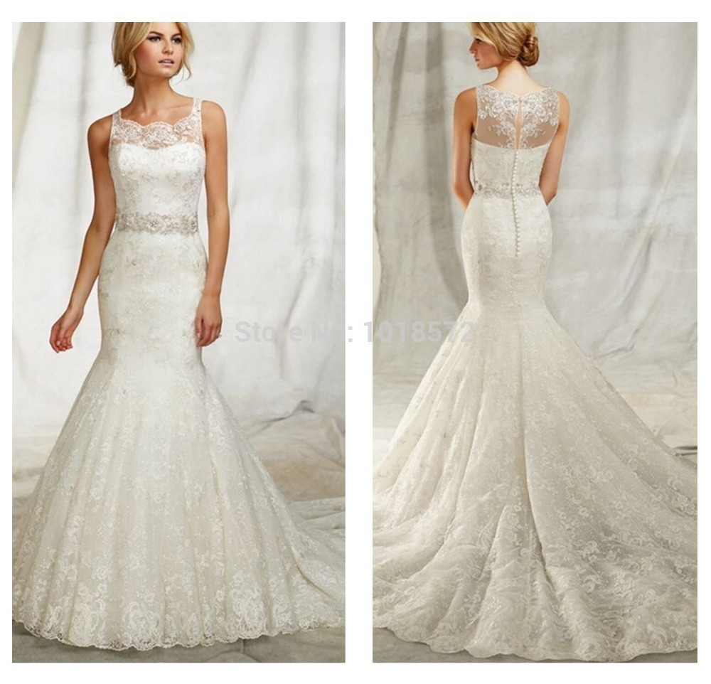 Hot2015 New Arrival Lace Jewel Neckline Mermaid Wedding Dress With Beaded Waistband Straps White