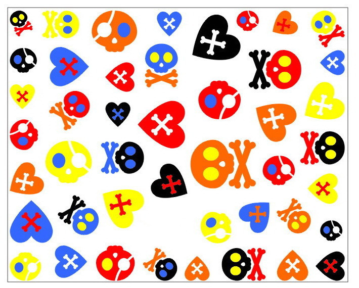 Min.order is $5 Nail 3D Art Stickers Decal Halloween Horror Multi Color Bones Skull Hearts Design French Manicure(China (Mainland))