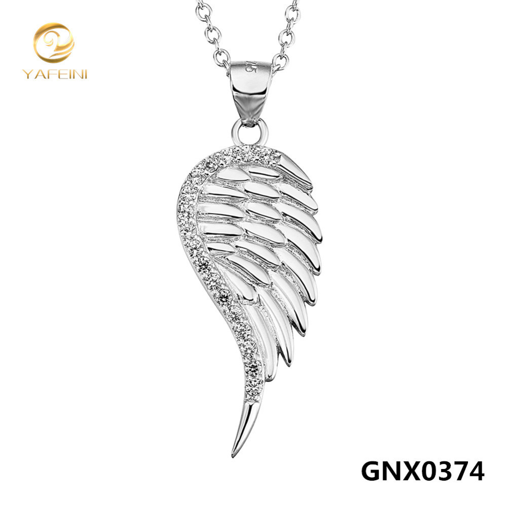 Wholesale Genuine 925 Sterling Silver Wing Necklace Fashion Jewelry Cubic Zircon Pendant Necklace For Women Collares GNX0374(China (Mainland))