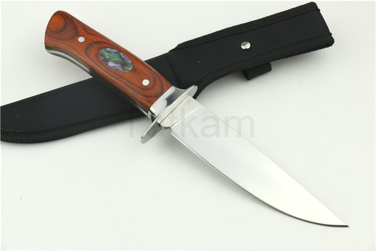 Buy Top Fixed Blade Knife Stainless Steel 58HRC Hardness Rose Handle Survival Hunting Straight Knife cheap