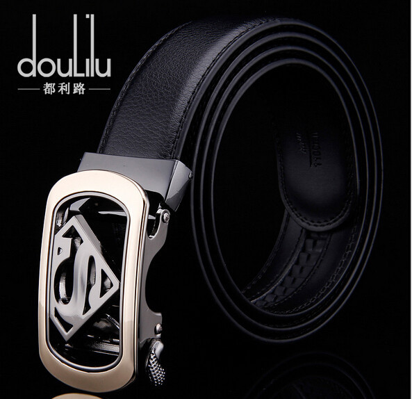 2015 New Fashion Men's Business Belts,Luxury Superman Automatic Buckle Genuine Leather Belts For Men Waist Belt Free Ship(China (Mainland))