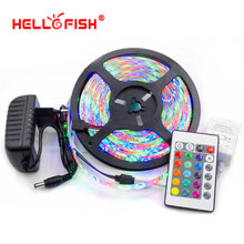 Hello Fish 5M 2835 300 SMD IP65 Waterproof Flexible LED Strip Light and IR Remote Controller +12V 2A Power Adapter Kit(China (Mainland))