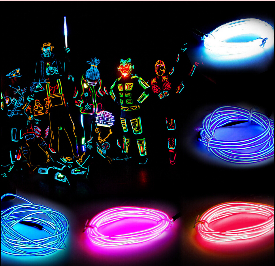 1M /2M /3M /5M Flexible Led Neon Light flexible EL Wire Rope Tube Cable+Battery Controller Water Resistant LED Light Free Ship(China (Mainland))