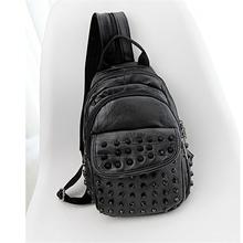 2016 Women Casual Shoulder Bags Black Rivet Stainless Steel Crossbody Bags Genuine Leather Sheepskin Chest Pack Bolsa Feminina(China (Mainland))