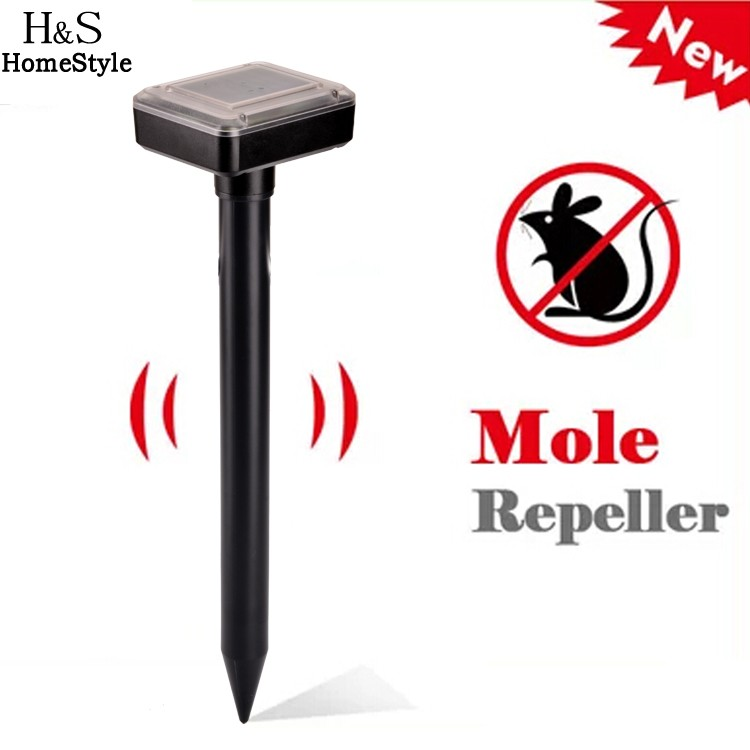 New Solar Portable Powered Outdoor Mouse Rodent Pest Repellent Sonic Mole Garden Wave Solar Pest Repeller(China (Mainland))