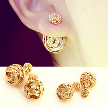 Hot Selling Two Gold Ball Stud Earrings Double Sides Pearl Earring For Girls Gold Plated Jewelry Free Shipping