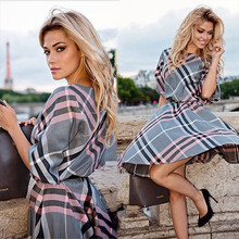 2016 new fashion women plaid print dress casual o-neck half sleeve tunic vintage dresses plus size