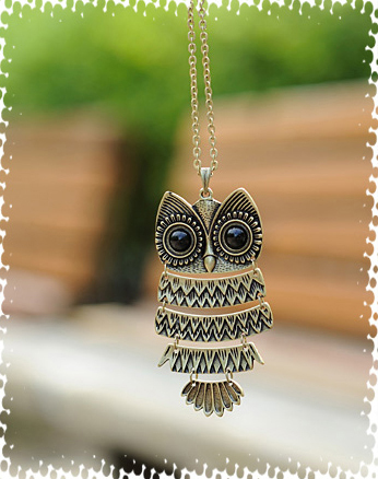 Korea Adorn Article Vintage Bronze Owl Necklace,Retro Owl Sweater Chain Jewelry storm(China (Mainland))