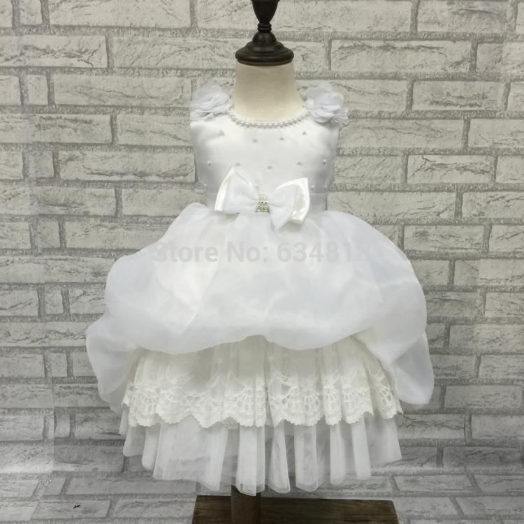 Free Shipping Infant dress Low Price Baby Flower Girl Dresses For weddings 1 Year Brithdays Dress For Girls Baptism clothes 2183(China (Mainland))