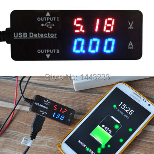 LED USB Charger Detector Voltage Current Meter Tester Mobile Power Volt Amp free shipping(China (Mainland))