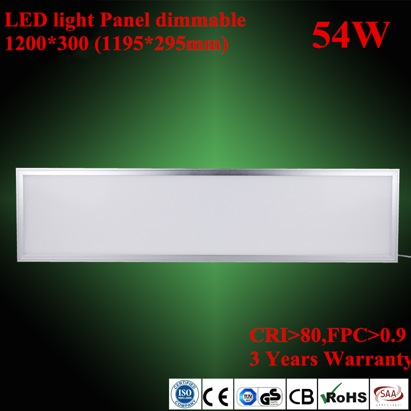 3 years warranty hot selling 54W 300*1200 mm 1*4ft led flat panel ceiling lights white 6000K for home office ceiling lamp(China (Mainland))