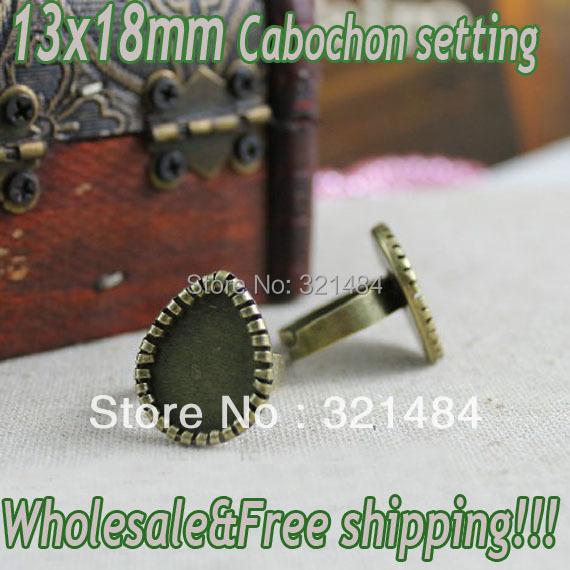 Hot Sale!!! 200pcs Vintage antique brass/bronze Adjustable Ring base blank bezel 13x18mm Drop cabochon setting