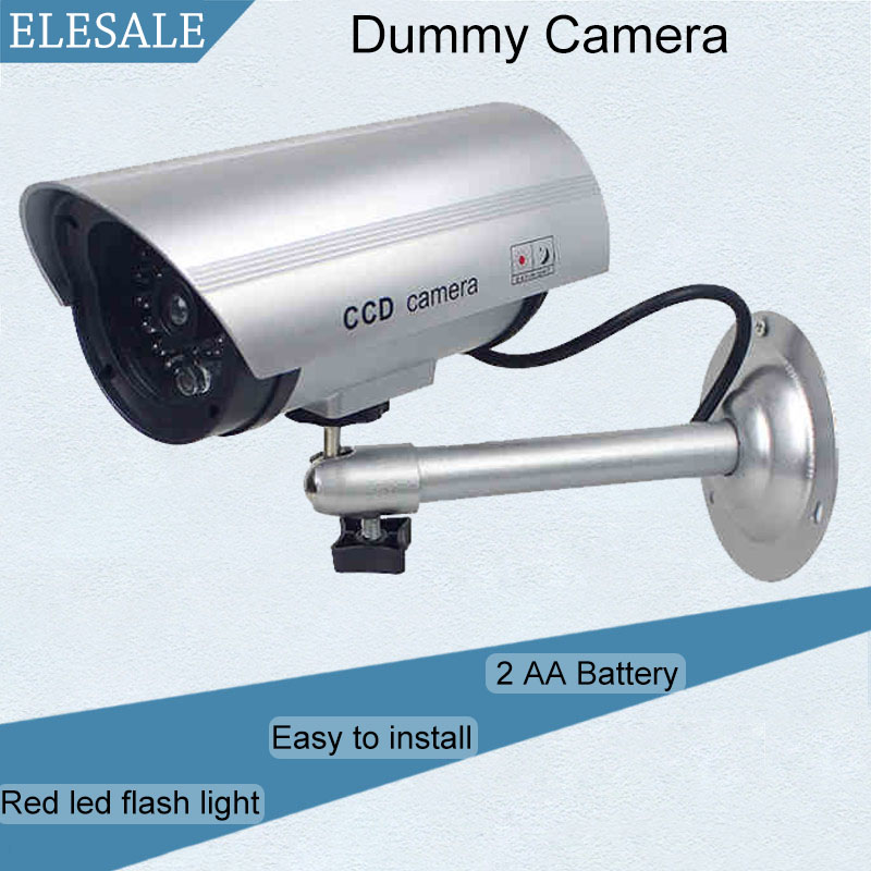 Waterproof Silver Metal Fake Camera Two AA Battery LED Dummy Security Camera Ir Led Dome CCTV Camera Surveillance Camera ELESALE(China (Mainland))