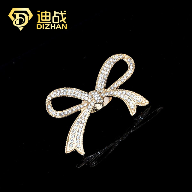Hot Sell Fashion Silver/gold color Exaggerated Rhinestone Bowknot Ring  Sweet Shine Big Bow Rings for women
