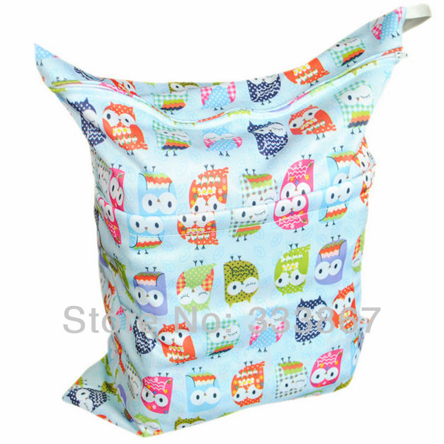 wet bag with two zippered baby diaper bag nappy bag waterproof blue owl. Black Bedroom Furniture Sets. Home Design Ideas