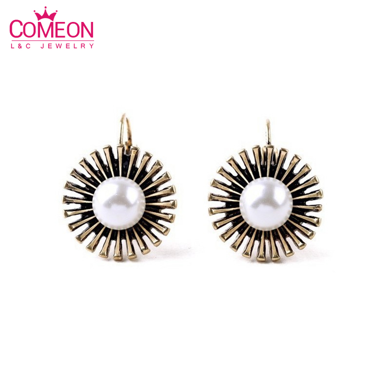 1Pair of Women Round Pearl Alloy Stud Earrings Brinco China Jewelry Factory Wholesale<br><br>Aliexpress