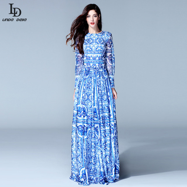 Высокое качество новый 2015 мода женщин с длинным рукавом старинные голубой и белый печать платье марка макси платье