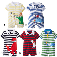 Free Shipping 3 Pieces/lot Size 80 90 95cm Newborn Baby Summer Cotton Short-sleeve Cartoon Stripe One Piece Romper 5 Colors(China (Mainland))