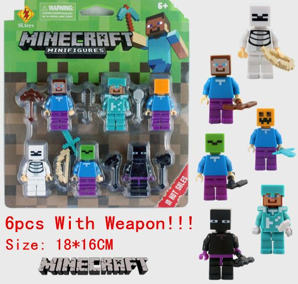 6pcs/set Minecraft Toy With Weapon Hanger Creeper Action Figure Minecraft 3D Models Classic Collection Toys Hot Sale #BA 8.25(China (Mainland))