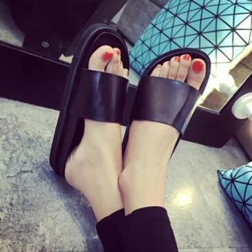 2016 Summer Women's Slippers Casual Slides Black Women Sandals Flat Flip Flops Open Toe Beach Shoes Sapatos Feminino - jiajia liao's store