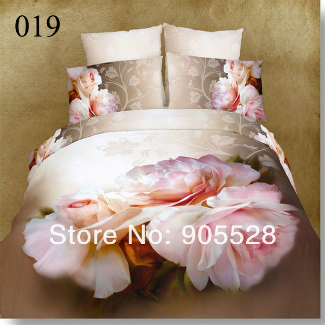 2013 100% quality luxury 100% cotton queen size bedding set /bedclothes/duvet cover red black 3d flower printed for wedding