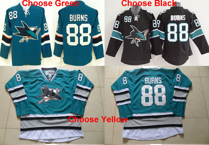 New 25Th Anniversary Men's San Jose Sharks 88 Brent Burns Jersey Black,Teal Green Hockey Jersey,High quality,stitched(China (Mainland))