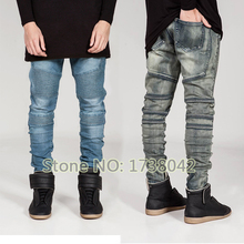 Mens Skinny Jeans Men Runway Distressed Slim Elastic Jeans Denim Biker Jeans Hip Hop Pants Acid Washed Jeans For Men(China (Mainland))